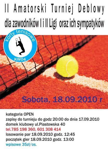 II Amatorski Turniej Deblowy dla zawodników I i II Ligi oraz ich sympatyków